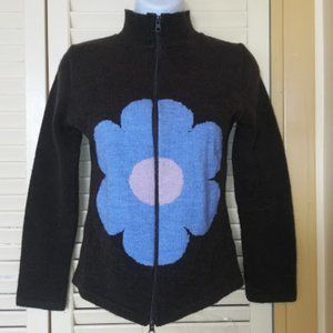 Twik Simons Brown Vest w Blue Flower Fits Small